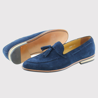 2017 Cow Suede Genuine Leather Mens Wedding Dress Shoes Slip On Dark Blue Men Casual Loafers