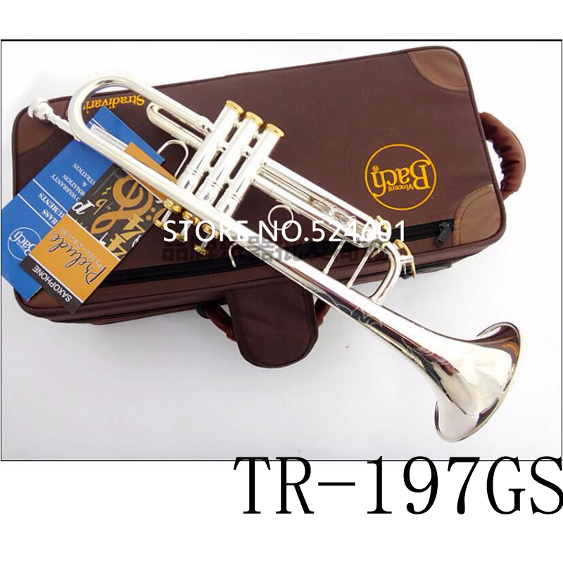 Professional  TR-197GS Bach Trumpet Plate Silver Pipe Body Gold-Plated Key Carved Bb Trumpet Drop Adjustable Trompete Instrument