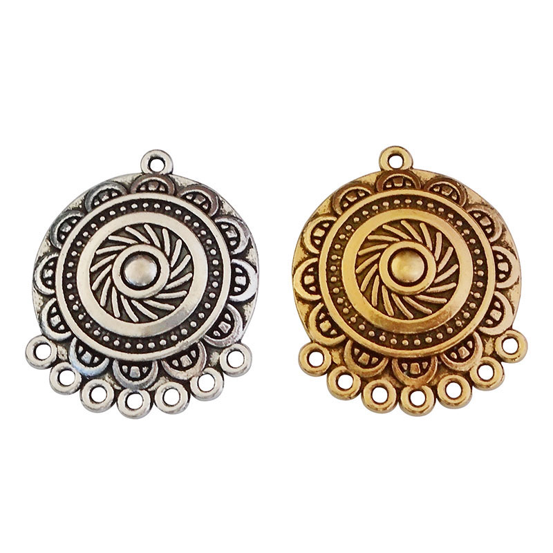 20 x Antique Gold/Silver Color Ethnic Chandelier Earring Connectors Charms Pendants for Boho Jewelry Making 31x25mm