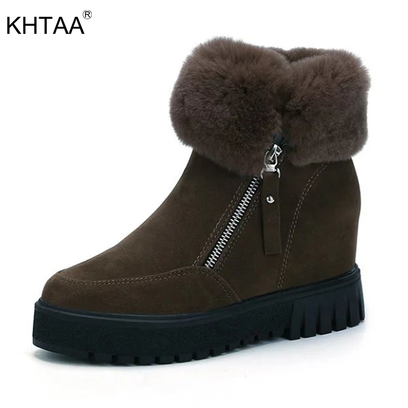 KHTAA Fashion Faux Suede Zipper Women Ankle Boots Platform Increasing Height Snow Boots Warm Plush Female Fluffy Winter Shoes 2017 women warm boots genuine leather height increasing cut out flat platform short plush women ankle boots