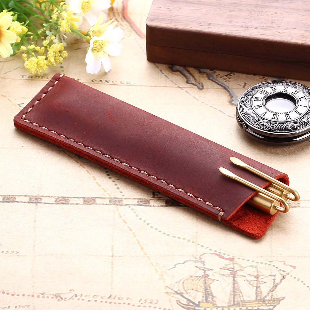 Handmade Genuine Leather Pen Bag, Rustic Leather Pencil Bag Holder Case, Vintage Retro Style Accessories For Leather NotebookHandmade Genuine Leather Pen Bag, Rustic Leather Pencil Bag Holder Case, Vintage Retro Style Accessories For Leather Notebook