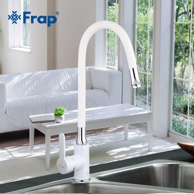 Frap новые белые гибкие Кухня раковина кран латунь 360 градусов вращения Torneira Cozinha водопроводной воды кухонных миксер коснитесь F4041