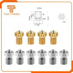 10pcs/lot 3D Printer Accessories V5 V6 Nozzle 1.75mm Nozzles 0.2 0.25 0.3 0.4 0.5mm for 1.75mm filamnet Full Metal E3D