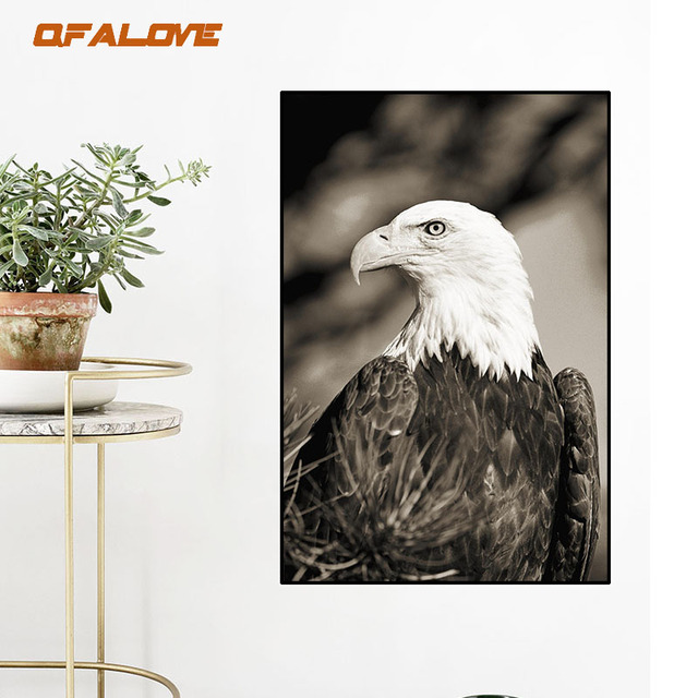 Qfalove Modern American Eagle Canvas Painting Animal Wall Pictures Decorative Art For Living Room Home