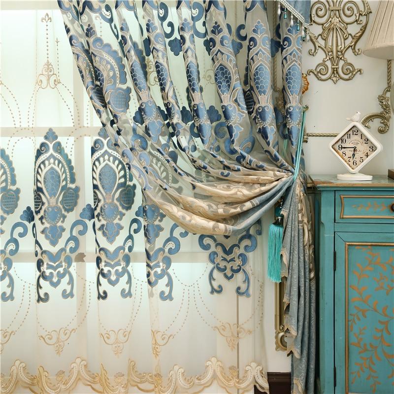 Avrupa yüksek dereceli Işlemeli perdelik kumaşlar lüks Polyester - Ev Tekstili - Fotoğraf 3