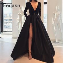 Black Evening Dresses with Pockets Front Slit Elegant V Neck Satin Long Prom Party Gowns 2020 Women Formal Dress Abendkleider