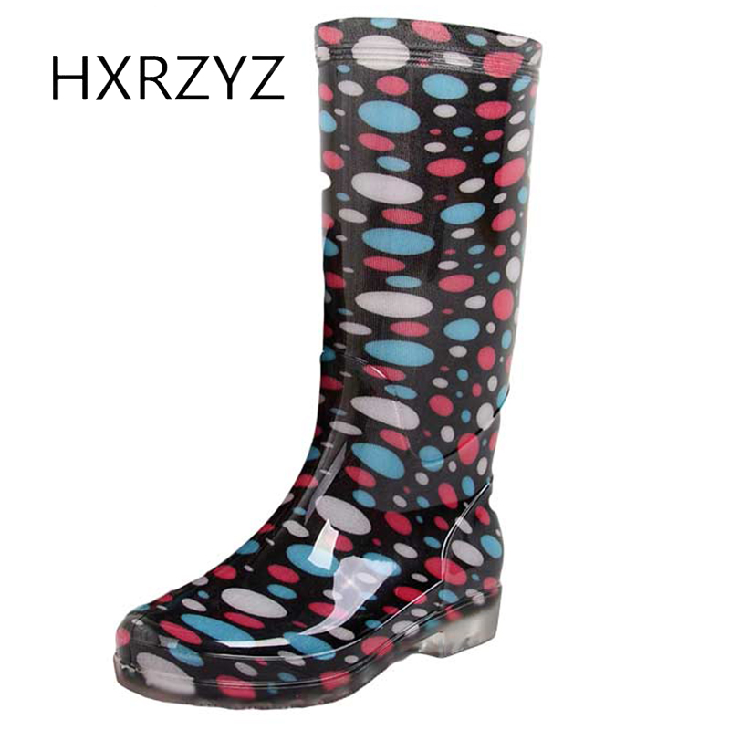 HXRZYZ Women rain boots female slip-resistant rubber ankle boots Spring/autumn new fashion jelly Waterproof shoes women large size spring autumn fashion shoes women rain boots female elastic band slip resistant ankle boots waterproof rubber boots