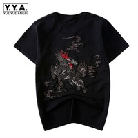 Chinese Retro Mens Summer kylin Embroidery T Shirt Short Sleeve Cotton Casual Tops Male Harajuku Tee Shirt Homme O Neck Sweater