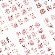 6pcs/lot Girl and cat diary series sticker child diy Photo album decoration scrapbooking stationery