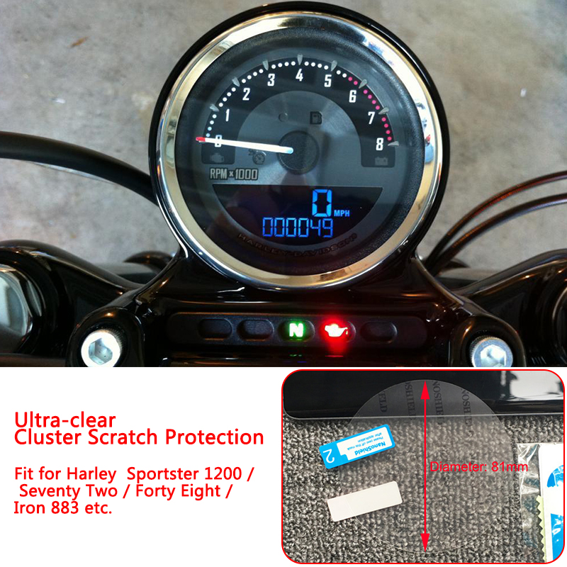 Ultra-Clear 81mm Cluster Scratch Protection TPU Film Speedo Screen Protector For Harley Sportster 1200 <font><b>883</b></font> Forty Eight <font><b>Iron</b></font> <font><b>883</b></font> image