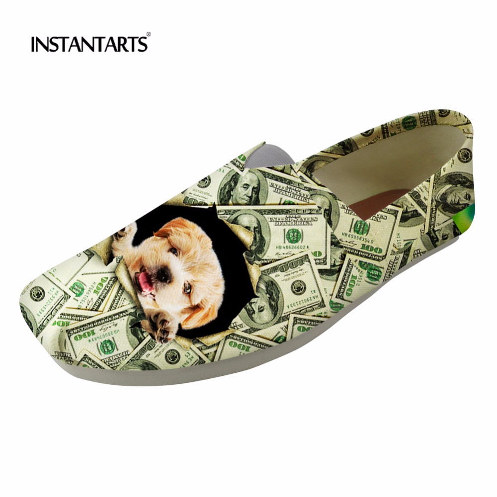 INSTANTARTS Women Flats Shoes 3D Cute Animal Dog Pattern Women Casual Loafers Shoes Youth Girl Summer Slip On Canvas Lazy Shoes