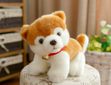cute light brown SHUNSUKE dog plush toy about 22cm bell dog doll baby toy birthday present Xmas gift c717