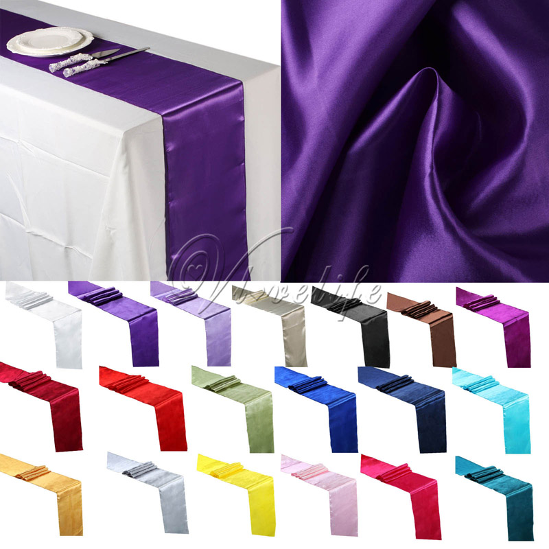 30PCS Satin Table Runners Wedding Party Event Decor Supply Satin Fabric Chair Sash Bow Table Cover