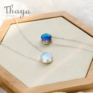 Image 3 - Thaya 45cm Crystal Gemstone s925 Silver Aurora Necklace Halo Scale Light Forest Women Pendant Necklace for Girl Elegant Jewelry
