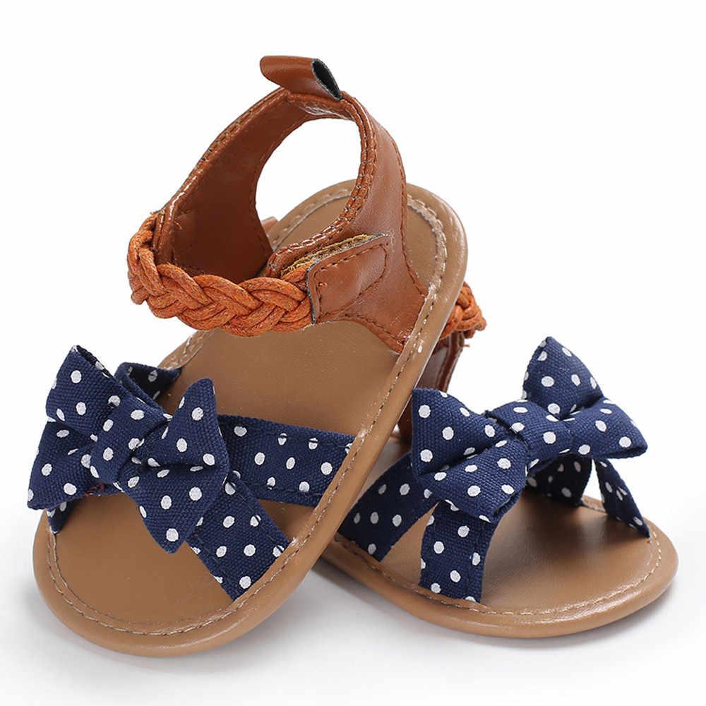 Bebé chico zapato niña verano Casual Sandalia de moda de punto Arco-Nudo de sandalias de playa suave Anti-slip princesa niños zapatillas de deporte