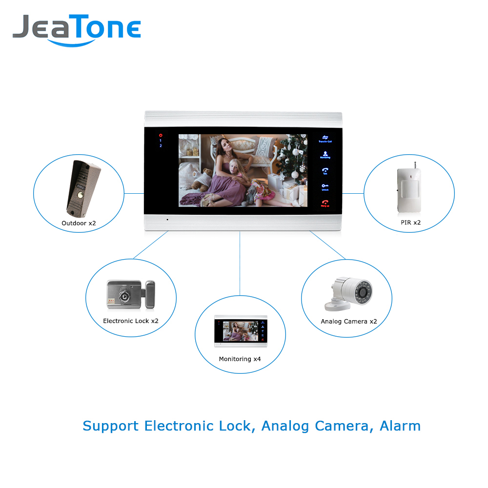 Image 3 - JeaTone 7 Inch LCD Video Doorphone Intercom System Door Release Unlock Home Security Video Door Phone Kit 1200TVL+16G SD Card-in Video Intercom from Security & Protection