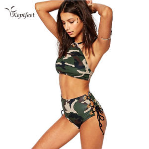 abf2ca6bb7 Camo Push Up Swimwear 2017 Bandage Swimsuit Army Green High Waist Biquini