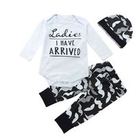 3Pcs/Set Outfit Suit Newborn Baby Boy Girl Mustache Beard Long Sleeve Rompers Clothes Set