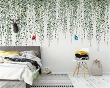 Купить с кэшбэком Custom wallpaper romantic Rose flower rattan pastoral TV background papel de parede modern 3D wallpaper murals paper beibehang