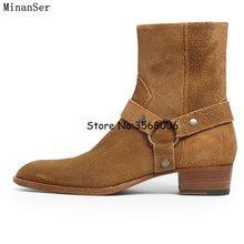09e3dfc12 Пояса из натуральной кожи замши Для мужчин Ботинки Челси боковой молнией  Прохладный улица Стиль Мужские ботильоны Обувь круглый .