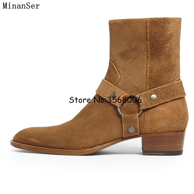 cf4bfa3d96a US $83.96 15% OFF|Genuine Leather Suede Men Chelsea Boots Side Zipper Cool  Street Style Man Ankle Boots Shoes Round Toe Rome Male Casual Shoes-in ...