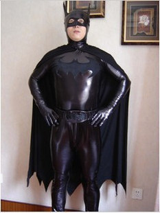 Black metallic Lycra Batman superhero costume