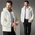 2016 Winter Synthetic Fur Coats Men Casual Furry Hooded Coat Plue Size 4XL Faux Rabbit Fur Jackets Mink Fur Coat