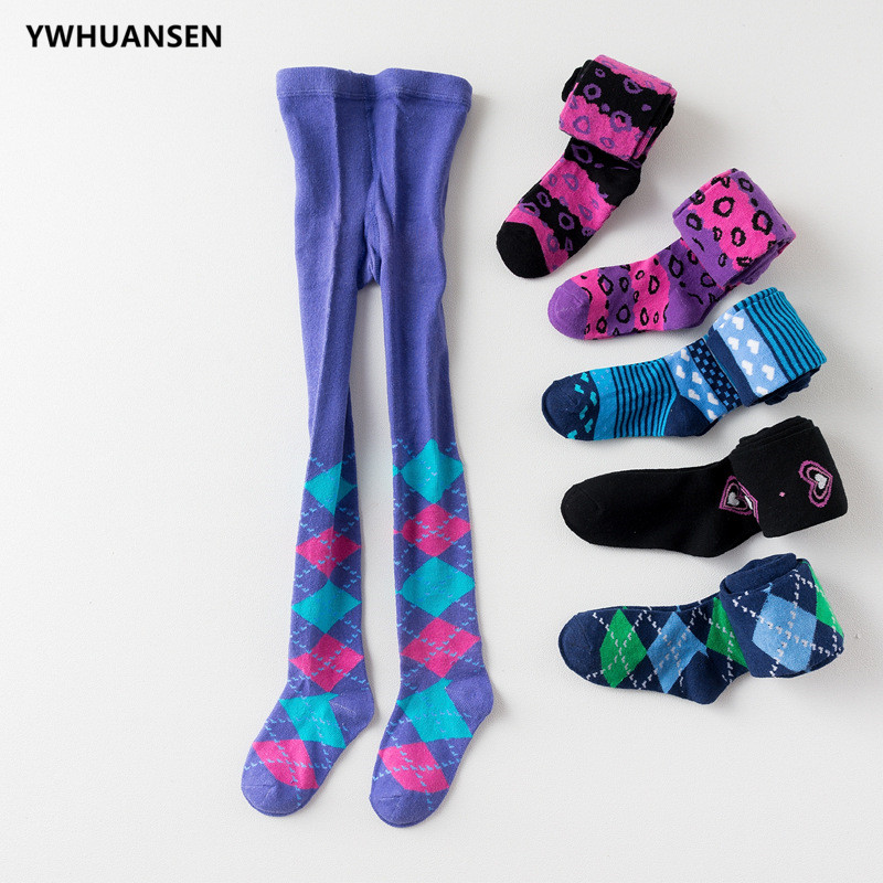 YWHUANSEN 2018 New Children's Tights Rhombus Pattern Stockings For Girls Boy Cotton Pantyhose Kids Patterned Collant Enfant Sale heart pattern side pantyhose stockings
