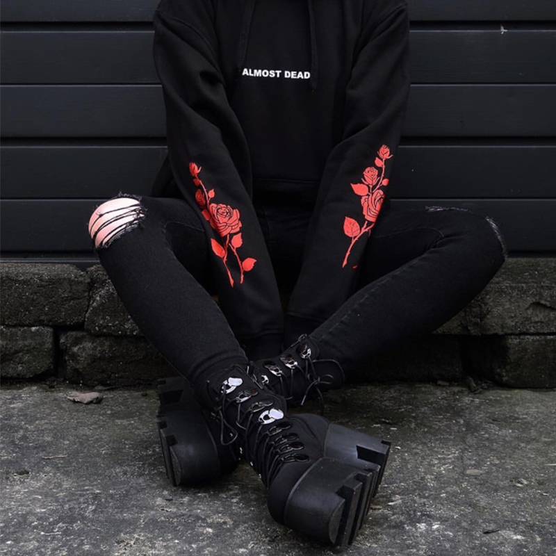 Gothic Hoodies ALMOST DEAD Rose Pattern Sweatshirt Black Unisex Pullover Tumblr Hispter Tops