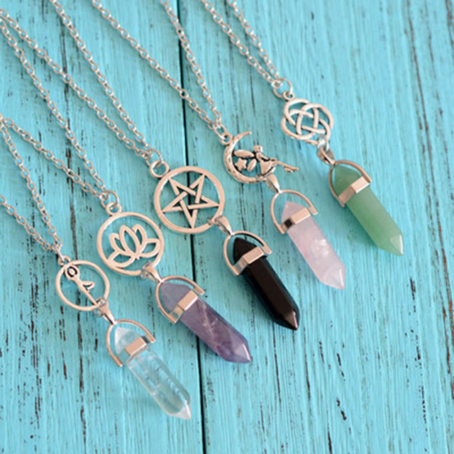 Hexagonal Column Natural Crystal little fairy  Bullet pendentif amethyste Stone Pendant Leather Chains Necklace For Women