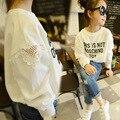 Chicas coreanas Primavera Otoño Vacío Letras de Manga Larga T-Shirt Niños Ropa de Algodón Blanco