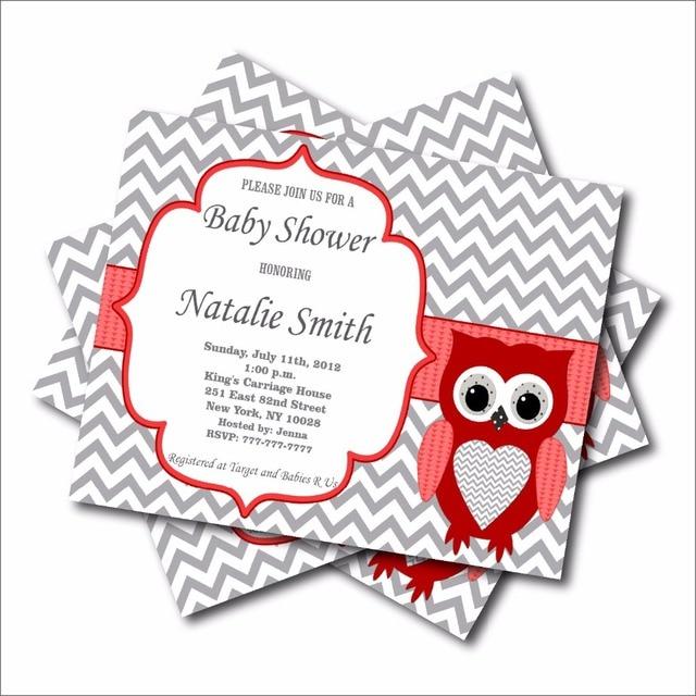 20 unids/lote rojo personalizado búho baby shower invitación de la ...