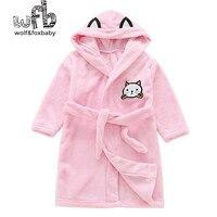 Perakende 2-10 yıl pamuk gecelik flanel çocuk ev kıyafeti giymek dantel bornoz pijama sonbahar güz kış