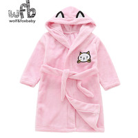 Retail 2-10 years cotton nightgown flannel children's home gown wear lace bathrobe pajamas autumn fall winter