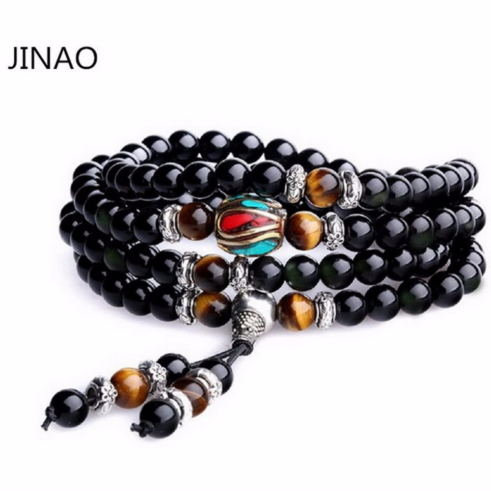 Jinao Jewelry Multilayer Tiger Eye and Obsidian Malas Prayer Beads Onyx Bead Bracelet with Gift Box