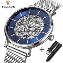 STARKING Uhr Marke Edelstahl Männliche Uhr Automatische Bewegung Männer Armbanduhr 5ATM Blau Zifferblatt Mechanische Uhren Uhr AM0275