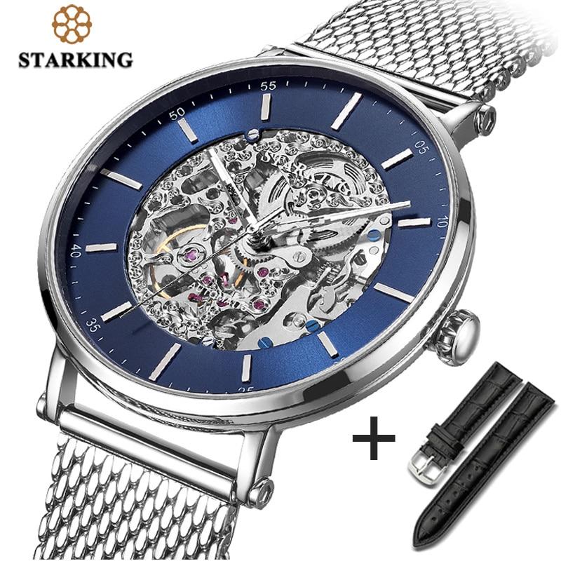 STARKING Watch Brand Stainless Steel Male Watch Automatic Movement Men Wristwatch 5ATM Blue Dial Mechanical Watches Clock AM0275|Mechanical Watches| |  - title=