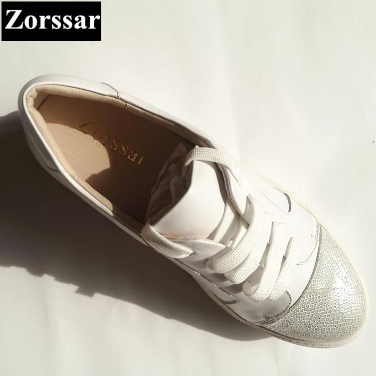 {zorssar} Moda Plataforma Zapatos De Mujeres Mujer Casuales Pequeños Pisos Cuero Zapatillas Genuino Negro blanco Deporte 2018 Blancos Las rRE8qwr