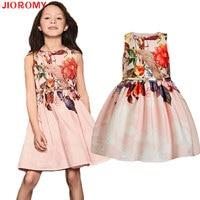 2017 New Arrivals Girls Dresses Brand Kids Dresses Belts 2pcs Printed Flowers Children S Apparel Sleeveless