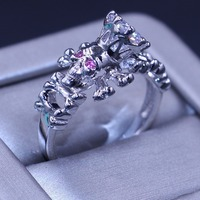 Size 5 11 Punk Vintage Simple Jewelry 10KT White Gold Filled Round Cut White Pink CZ