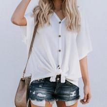 FREE SHIPPING !! V Neck Casual Loose Beach Button Tops JKP800