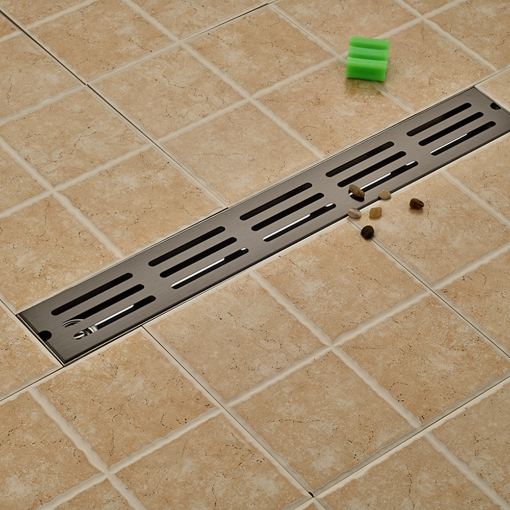 Oil Rubbed Bronze Floor Drain Square Bathroom Shower Grate Waste Drainer modern 90 10 cm oil rubbed bronze style deodorization grate waste floor drain floor mounted