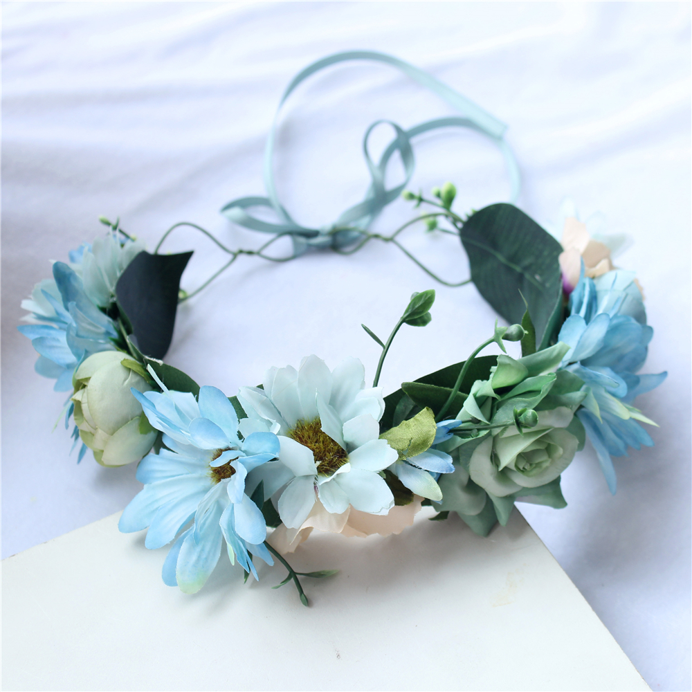 Good quality fashion blue flower wreath crown headband headwear for good quality fashion blue flower wreath crown headband headwear for girls or ladies hair accessory in hair accessories from womens clothing accessories izmirmasajfo
