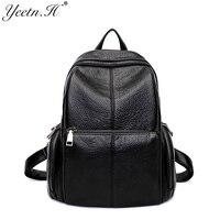 Yeetn H Female Preppy Style Black School Bag Split Leather Soft Shoulder Bag For Teenage Girls