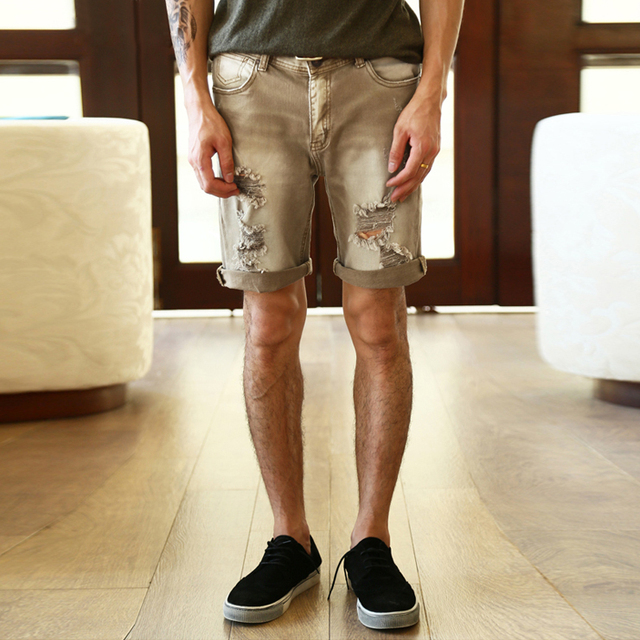 5c746df8c1 2017 Men summer khaki ripped holes denim short jeans men casual hip hop  retro washed fashion