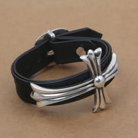 Wholesales BrS925 Sterling Fashion Crosses Men Women Models Leather Bracelet Punk Bracelet