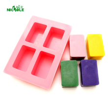 Nicole Silicone Mold Handmade Soap Bar Mould 4-Cavity Rectangular Shapes polo red