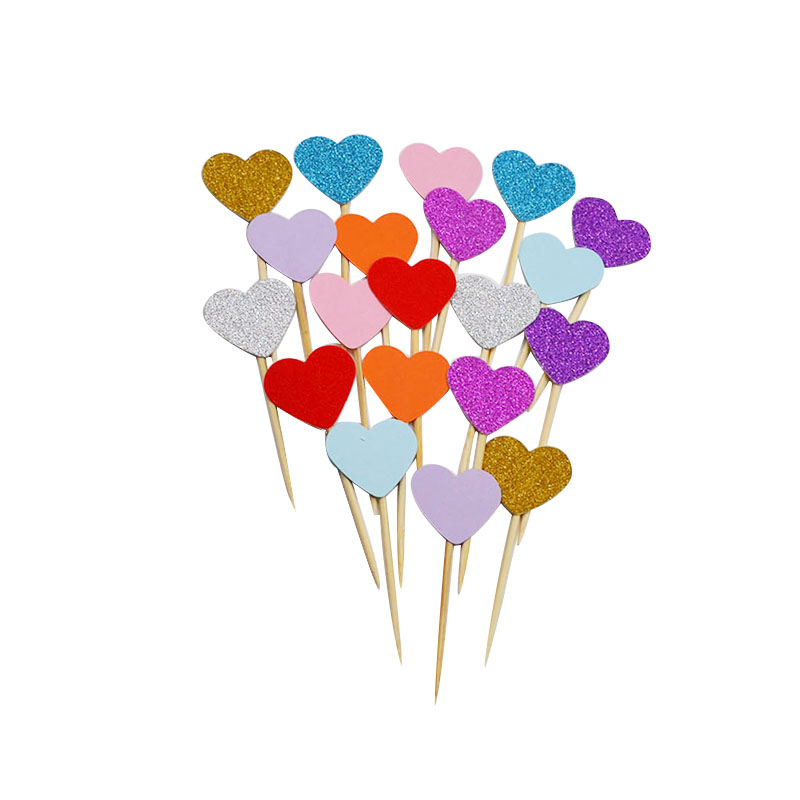 40pcs Mini Lovly Heart Cupcake Toppers DIY Handmade Paper Cake Topper Kids Birthday Party Favor Supplies Baby Shower Cake Decor