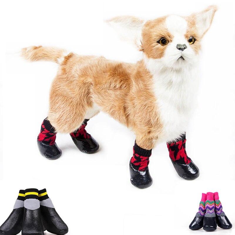 Pet Dog Waterproof Socks Cotton & Rubber Non-slip Rain Shoes Winter Warm Stockings Hosiery Boots For Puppy Medium Dog