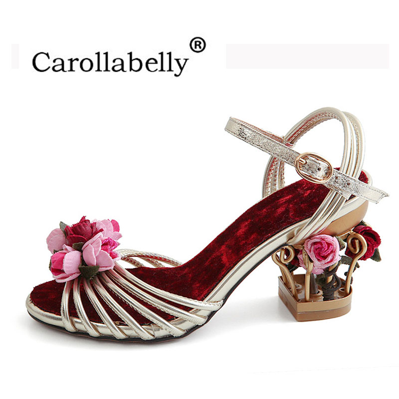 2018 New Bird Cage Elegant Flower Summer Shoes Ankle Straps Peep Toe Women Sandals Velvet Party/Wedding High Heels Big Size 43